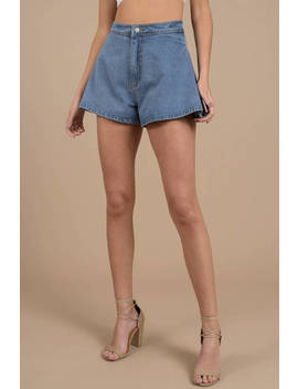 Cameo Instruction Medium Wash Layered Denim Shorts by Tobi