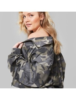 Women's Plus Size Camo Print Zip Up Windbreaker Jacket   Wild Fable™ Olive by Shop All Wild Fable™