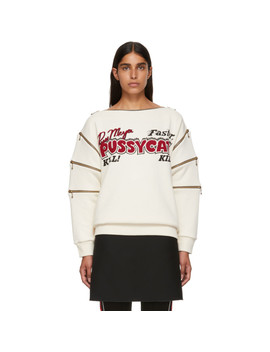 Ivory 'pussycat' Sweatshirt by Gucci
