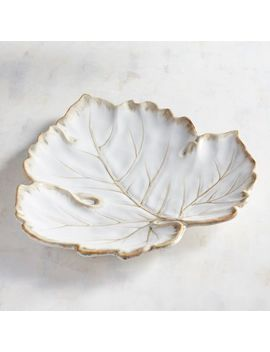 White Leaf Reactive Serving Platter by Pier1 Imports