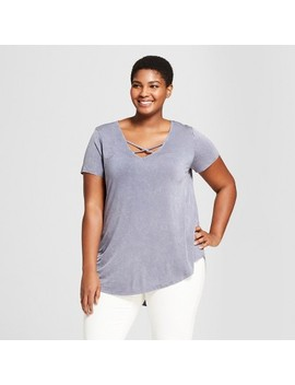 Women's Plus Size Short Sleeve Cross Front Drapey T Shirt   Ava & Viv™ by Shop All Ava & Viv™