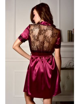 Burgundy Robe Bridesmaid Robe Short Sleeve Robe Summer Robe Lace Robe Satin Lace Robe Plus Size Robe Robes For Women Bridal Party Robes by Secret Love Lingerie