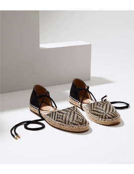 Woven Lace Up Espadrille Flats by Loft