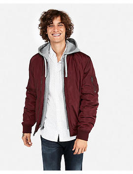 Fleece System Hooded Bomber Jacket by Express