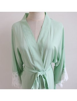 Light Green/Mint Women Kimono Robe(With Lace Trims) Bridesmaid Kimono Robe Bridesmaid Gift Wedding Party Robe Bridal Party Gift by Alice Creation Shop