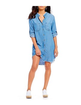 Frayed Hem Vintage Button Front Shirt Dress by Generic