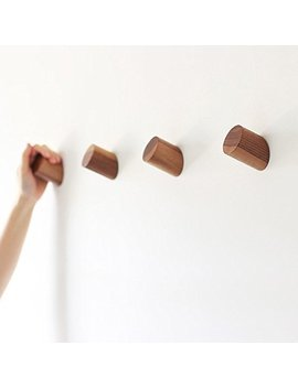 Felidio Natural Wooden Coat Hooks Wall Mounted Vintage Single Organizer Hangers, Handmade Craft Hat Rack, (Black Walnut, Pack Of 2) by Felidio
