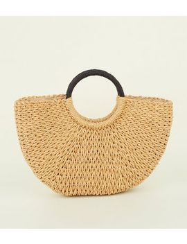 Stone Plain Straw Basket Bag by New Look
