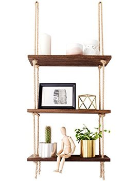 Mkono Wood Hanging Shelf Wall Swing Storage Shelves Jute Rope Organizer Rack, 3 Tier by Mkono