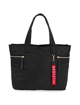 Quilted Logo Tote by Tommy Hilfiger
