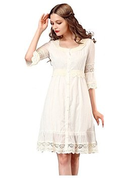 Artka Women's Vintage Casual Embroidery Half Sleeve Lace Cotton Dress,Beige,M by Artka