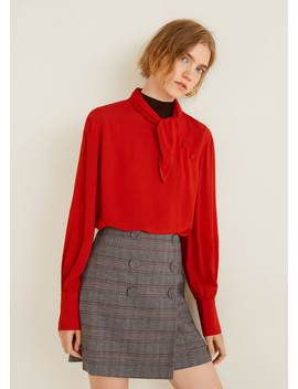 Buttoned Checked Skirt by Mango