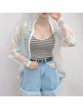 Women Tops Harajuku Laser Rainbow Symphony Hologram Lridescent Transparent Bomber Jacket Sunproof Coat  by Wj