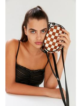 Mini Oval Checkered Crossbody Bag by Urban Outfitters