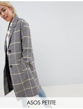 Asos Design Petite Coat In Colored Check by Asos Design