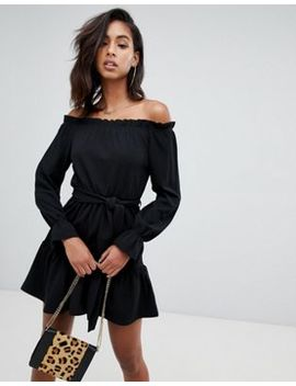 Boohoo Off Shoulder Skater Dress In Black by Boohoo