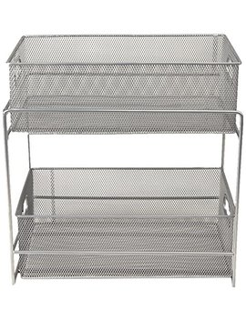 Mind Reader 2 Tier Metal Mesh Storage Baskets Organizer, Home, Office, Kitchen, Bathroom, Silver by Mind Reader