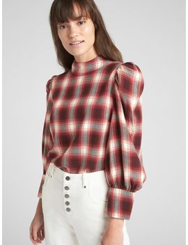 Puff Sleeve Plaid Mockneck Top by Gap