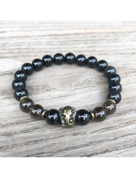 Smokey Quartz, Black Tourmaline, And Obsidian Stretch Bracelet With Elephant. Earth Chakra Bracelet. Lift Depression, Clear Negative Energy. by Beloved Crystals