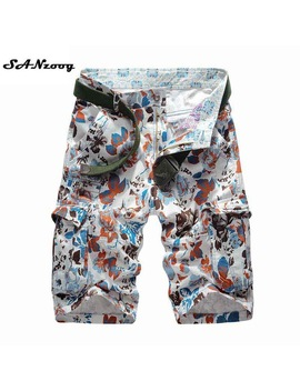 2018 New Summer Men's Camouflage Cargo Beach Shorts Cotton Men Military Casual Short Trousers Multi Pockets Men's Shorts No Belt by Sanzoog