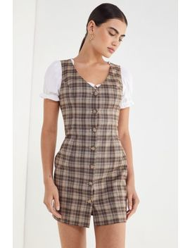 Uo Woven Plaid Button Front Dress by Urban Outfitters