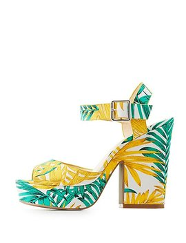 Tropical Ankle Strap Sandals by Charlotte Russe