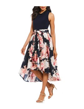 Sleeveless Floral Hi Low Dress by Generic