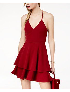 Juniors' Lace Back Fit & Flare Dress by B Darlin