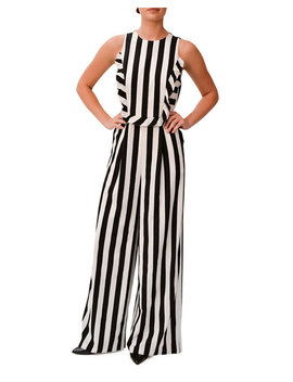 Sleeveless Ruffle Trim Striped Jumpsuit by Mikael Aghal