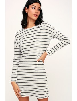 Simply Put Grey Striped Long Sleeve Shirt Dress by Lulu's