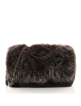 Pre Owned: Chain Zip Cc Flap Bag Fur And Quilted Lambskin Large by Chanel