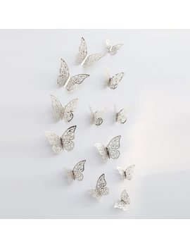 12pcs 3 D Hollow Butterfly Wall Sticker For Home Decor Diy Butterflies Fridge Stickers  Room Decoration Party Wedding Decor by Hon C