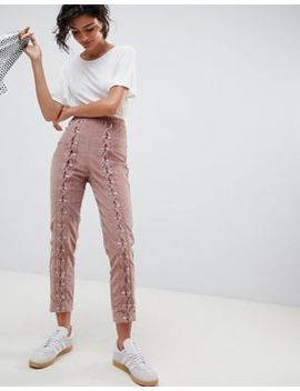 Asos Design Slim Cord Trouser With Lace Up Detail by Asos Design