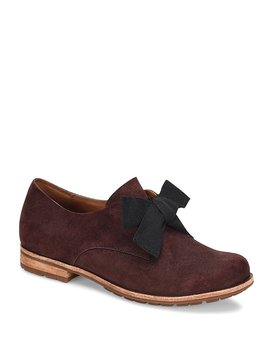 Beryl Suede Bow Slip On Oxfords by Generic