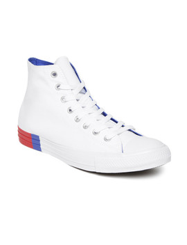 Converse Unisex White Solid Canvas Mid Top Sneakers by Converse