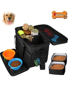 Hilike Pet Travel Bag For Dog&Cat  Weekend Tote Organizer Bag For Dogs Travel  Incudes1 * Dog Tote Bag,2 * Dog Food Carriers Bag,2 * Pet Silicone Collapsible Bowls.(Black) by Hilike