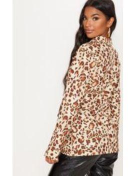 Leopard Print Side Tie Blazer by Prettylittlething