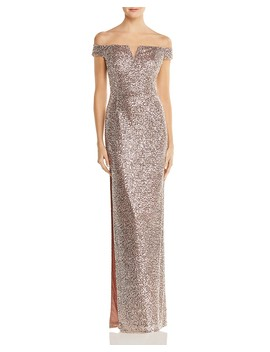Off The Shoulder Sequined Gown by Aidan By Aidan Mattox