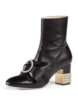 Embellished Mid Heel Booties, Black by Gucci