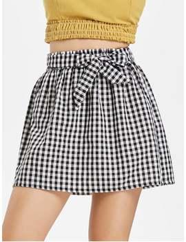 Gingham Paper Bag Waist Mini Skirt   Multi M by Zaful