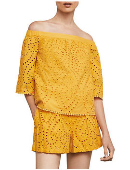 Off The Shoulder Embroidered Eyelet Top by Bcbg Maxazria