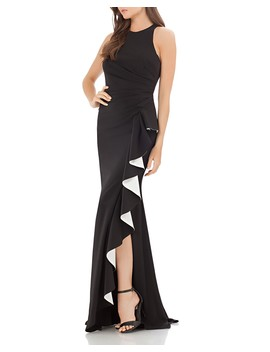 Contrast Ruffle Gown by Carmen Marc Valvo Infusion