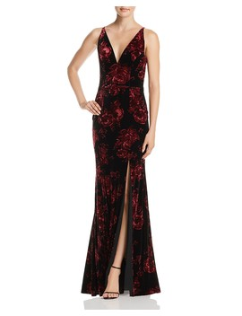 Floral Print Velvet V Neck Gown   100 Percents Exclusive by Aqua