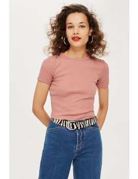 Short Sleeve Scallop T Shirt by Topshop