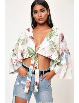 Cream Floral Wrap Kimono Sleeve Blouse by I Saw It First