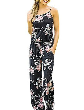 Minipeach Women's Solid Color Backless Sleeveless Wide Long Pants Jumpsuit Rompers by Minipeach