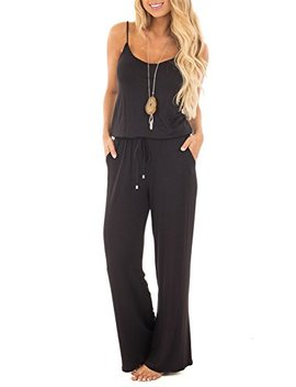 Sullcom Women Summer Solid Sleeveless Wide Leg Jumpsuit Casual Spaghetti Strap Stretchy Long Pant Rompers by Sullcom