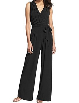 Inibud Jumpsuits For Women Wrap Surplice Self Tie Belt Sesh Zip Closure Wide Leg Sleeveless V Neck Chiffon by Inibud