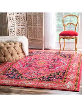 The Curated Nomad Marcela Violet Pink Medallion Area Rug (5'3 X 7'7) by The Curated Nomad
