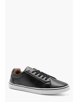 Punched Side Pu Lace Up Plimsolls by Boohoo
